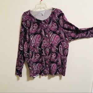 Croft & Barrow Paisley Cardigan 3X